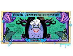 Disney Dollars, One Villion Dollars, Ursula Arte Disney, Disney Art, Disney Pixar, Disney Wiki, Evil Disney, Disney Magic, Ursula Disney, Disney Money, Disney Princess Party