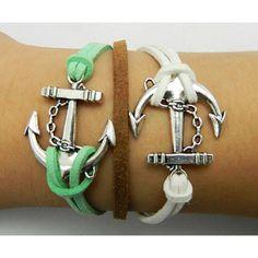 Anchor bracelet,Apple green bracelet,Love Bracelet,Couples bracelet,Brown bracelet,lover bracelet,leather bracelet,hipsters jewelry,braided bracelet,white bracelet