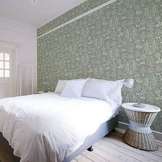 The Woodland wallpaper design offers traditional and intricate patterns that tell a compelling story. Originally launched in the this distinctive woodblock artwork is still compatible with the modern home. Finished in a sage green straight match Sage Green Bedroom, Living Room Green, Sage Green Wallpaper, New Room, Traditional House, Soft Furnishings, New Homes, Woodland, Furniture