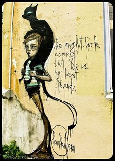 Graffiti Street Art Portsmouth NH Black Cat Street Artist 5 x 7 Fine Art Print. $14.00, via Etsy.
