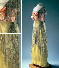 Evening Dress, Lucil Pinson's Workshop, St. Petersburg, Russia. 1910s. Satin, chiffon, ribbon, tulle, fringe, glass beads and plaques imitating corals; embroidered. State Hermitage Museum, St. Petersburg
