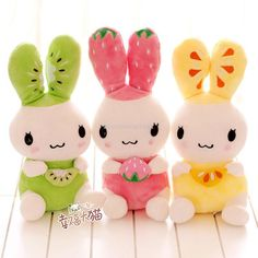 Hot sale 28cm cute sweet cartoon colorful fruit shape rabbit plush animal doll hold pillow stuffed toy lover birthday gift 5 pcs