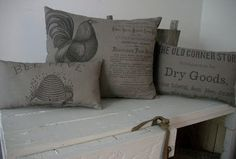 Prim Pillows (ok i am so going in search of this fabric. I am wondering if this can be even an iron on? soo great.. i think you can transfer images like this with Wax Paper)