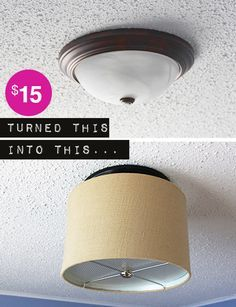 transform a basic flush ceiling light into a dropped drum shade light fixture, for $15!