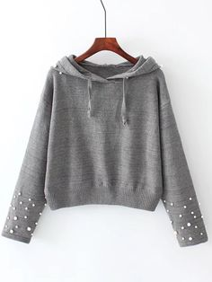 SheIn offers Faux Pearl Embellished Hooded Sweater & more to fit your fashionable needs. Look Fashion, Hijab Fashion, Trendy Fashion, Kids Fashion, Fashion Dresses, Fashion Design, Trendy Outfits, Cool Outfits, Mode Hijab