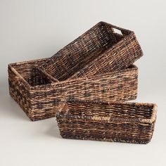 Madras Storage Baskets. would be a  nice addition to a living room with reading material and cozy blankets