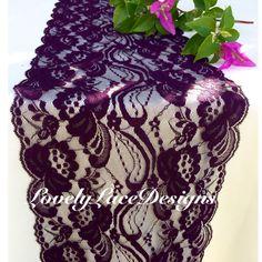 Peacock Weddings! Purple & Teal Lace Table Runner!