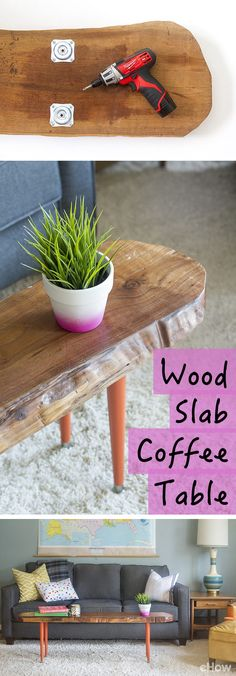 Turn a piece of wood into the most unique (and functional coffee table! You can customize this to fit your space, large or small. Such a great DIY! http://www.ehow.com/how_7719339_make-wood-slab-coffee-table.html?utm_source=pinterest.com&utm_medium=referral&utm_content=freestyle&utm_campaign=fanpage