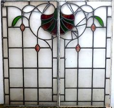 Victorian Art Nouveau Leaded Glass Panel, circa 1900