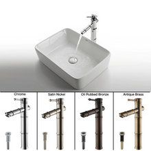 """View the Kraus C-KCV-121-1300 19-1/5"""" Ceramic Vessel Bathroom Sink With Vessel Faucet and Pop-Up Drain at FaucetDirect.com."""