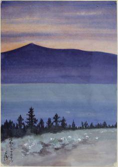 Evening Glow at Mono Lake n.d. Chiura Obata Born: Okayama-ken, Japan 1885 Died: Berkeley, California 1975 watercolor on paper 15 1/2 x 11 in. (39.4 x 27.9 cm)