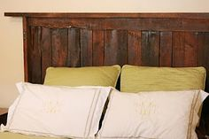 @Cindy Barnes BlueHouseRedDoor: Pallet Wood Headboard Update! new headboard idea