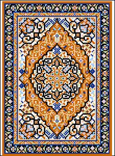 Tabriz Medallion Miniature Rug - Pattern designed for 18 mesh canvas or 18 count Aida Cross Stitch Charts, Counted Cross Stitch Patterns, Cross Stitch Embroidery, Design Oriental, Chart Design, Patterned Carpet, Microsoft Word, Cross Stitching, Rugs On Carpet