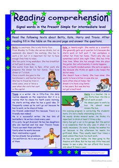 Reading comprehension * signal words in the Present Simple Tense* for intermediate level * 2 pages * 3 tasks * key is included * fully editable worksheet - Free ESL printable worksheets made by teachers