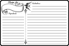 Classic Tattoo Recipe Cards  (Free Printable PDF)