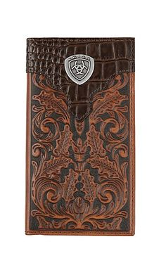 Ariat Gator Floral Rodeo Wallet / Checkbook Cover | Cavender's Cowgirl Jewelry, Western Jewelry, Checkbook Cover, Cowboy And Cowgirl, Rodeo, Overlays, Leather Wallet, Floral Design, Jewelry Accessories