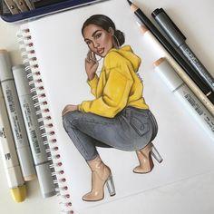 Amazing Drawings, Cool Art Drawings, Beautiful Drawings, Art Sketches, Black Love Art, Black Girl Art, Art Girl, Tumblr Drawings, Girly Drawings