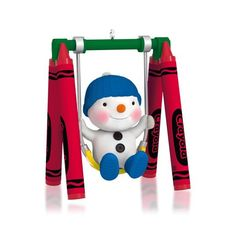 This cuddly snowchild is flushed with fun as it tries out its brand new Crayola® swing. Celebrate the color and wonder of childhood Christmases with this playful 2014 Hallmark Keepsake Ornament.