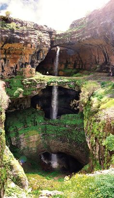 The Baatara Gorge Sinkhole (Balaa Gorge Waterfall) is a waterfall in the Tannourine, Lebanon near Balaa. The waterfall drops 255m (837') into the Baatara Pothole, a cave of Jurassic limestone located on the Lebanon Mountain Trail. The cave is also known as the Cave of the Three Bridges.There are three natural bridges, rising one above the other and overhanging a chasm descending into Mount Lebanon. During the spring melt, a cascade falls behind the three bridges and then down into the…