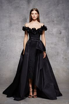 Detachable pleated taffeta overskirt with large bow detail.