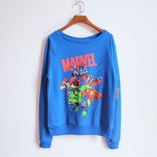 Marvel comics hoodie women PLUS SIZE XXL cartton thin printed sweatshirts tops cute long-sleeve loop pile t-shirt blue fashion(China (Mainland))
