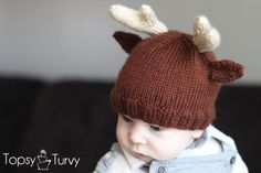 a knit beanie for newborns to toddlers with added knit reindeer antlers & ears. Great for Christmas or simply a cute winter hat for your baby