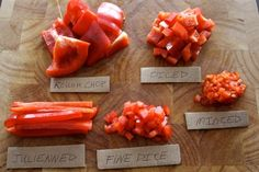 How To: Learn Basic, Safe Kitchen Knife Skills. Also a visual on cuts from minced to rough.
