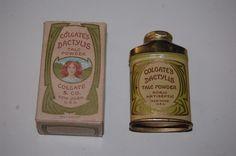 Circa 1906 Colgate & Co.Trial Size Dactylis Brass Talc Tin in Original Box #ColgateCo