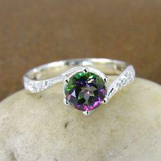 $89 Mystic Topaz & Swarovski Crystal Ring 925 Sterling by ChadaSoph on etsy #etsy #jewelry #mystic