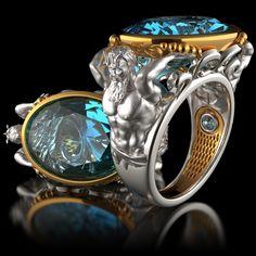 Poseidon ring, mithology ring - Biddesigner
