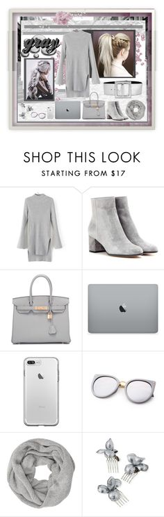 """just gray"" by jennross76 ❤ liked on Polyvore featuring Gianvito Rossi, Hermès, John Lewis, Gigi Burris Millinery, Yves Saint Laurent, Sweater, grey, gray and sweaterdress"