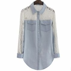 Nova 2014 Outono Mulheres Denim Blusas manga comprida Lace Patchwork Denim Shirt…