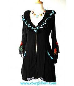 Vintage Collection Black Floral Duster Jacket
