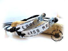 Bracciali coppia uomo donna amami baciami bracelet braccialetto love me kiss me, by Mosquitonero Shop, 18,90 € su misshobby.com