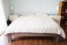 UPDATE! Please click here for the DIY Bed Frame PLANS! Our local IKEA has some great Saturday Shocker events, and a few weeks ago, we picked up the SULTAN king-size latex mattress for just $300, reduced from $700. I think IKEA may be discontinuing this mattress, but we were pretty happy to snatch up…
