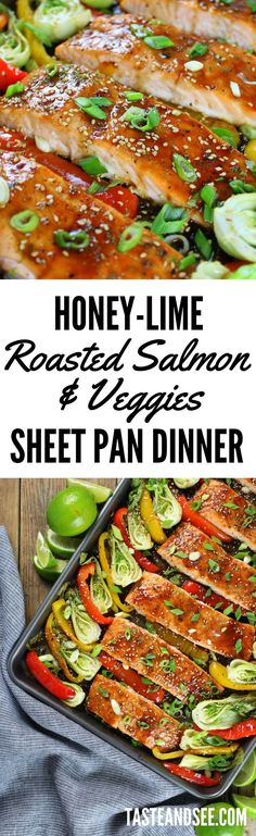Low Unwanted Fat Cooking For Weightloss Honey-Lime Roasted Sheet Pan Salmon And Vegetables - An Easy And Delicious Weeknight Meal Cooked Vegetable Recipes, Vegetable Korma Recipe, Spiral Vegetable Recipes, Vegetable Dishes, Vegetable Samosa, Vegetable Spiralizer, Vegetable Casserole, Spiralizer Recipes, Salmon Recipes