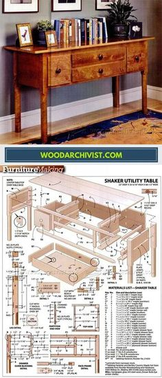 Shaker Utility Table Plans - Furniture Plans and Projects - Woodwork, Woodworking, Woodworking Plans, Woodworking Projects Wood Shop Projects, Woodworking Projects Diy, Woodworking Furniture, Furniture Plans, Wood Furniture, Home Projects, Woodworking Plans, Homemade Furniture, Furniture Making