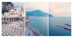 "A stunning photograph by Gray Malin capturing a beach scene in Italy, presented as a triptych. Documenting many of Italy's most famous beaches on a 2000-kilometer road trip, the artist's ""La Dolce..."