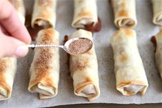 Apple Pie Egg Rolls, would be yummy with peach too! Egg Roll Recipes, Apple Recipes, Sweet Recipes, Just Desserts, Delicious Desserts, Dessert Recipes, Yummy Food, Whoopie Pies, Tasty Kitchen