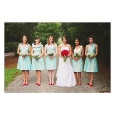 Red & Tiffany Blue Wedding Inspiration - love the colors! Aqua Bridesmaids, Bridesmaids And Groomsmen, Short Bridesmaid Dresses, Wedding Bridesmaids, Bridesmaid Ideas, Wedding Dresses, Aqua Wedding, Chic Wedding, Wedding Colors