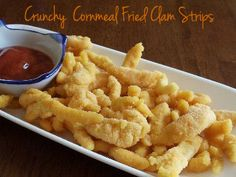 My Favorite Things: Crunchy Cornmeal Fried Clam Strips Cajun Recipes, Fish Recipes, Seafood Recipes, Snack Recipes, Snacks, Cajun Food, Dinner Recipes, Fried Clams, Cooking Instructions
