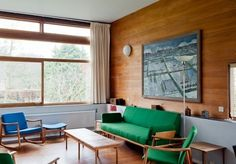 Green and timber in a midcentury modern living room