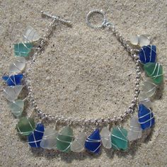Pretty seaglass bracelet that would be easy to make.