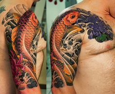 Orange koi fish and chrysanthemum flowers japanese tattoo by George Bardadim. Tattoo Pez, Koi Tattoo Sleeve, Japanese Sleeve Tattoos, Best Sleeve Tattoos, Nyc Tattoo, Irezumi Tattoos, Tribal Tattoos, Body Art Tattoos, Polynesian Tattoos