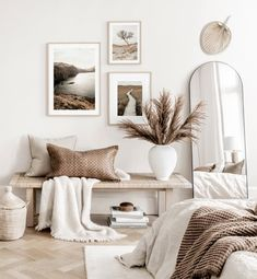 Gallery Wall Inspiration - Shop your Gallery Wall Gallery Wall Bedroom, Room Ideas Bedroom, Home Decor Bedroom, Bedroom Art, Neutral Bedroom Decor, Neutral Colored Bedroom, Bedroom Decor Natural, Spa Bedroom, Modern Gallery Wall