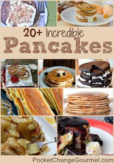 20+ Incredible Pancake Recipes on PocketChangeGourmet.com #Recipes #Pancakes