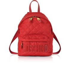 Red Quilted Nylon Small Backpack w/Signature Logo - Moschino