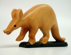 Aardvark Carved Painted Wood Mammal Figurine Sculpture