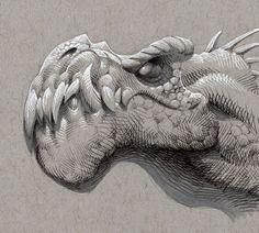 "Kevin Keele on Instagram: ""Happy New Year! Here's a dinosaur. #kkeeleart #kkeelesketchbook #keeleart #crosshatch #tonedpaper #ballpointpenart #prismacolormarkers…"" Cool Art Drawings, Cool Sketches, Drawing Sketches, Ballpoint Pen Art, Toned Paper, Art Story, Paper Drawing, Cartoon Design, Whimsical Art"
