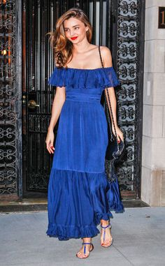 Miranda Kerr goes for bold in blue. #fashion